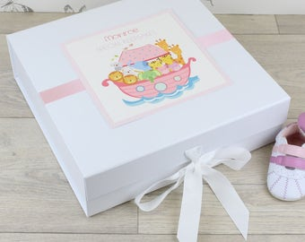 Personalised Noahs Arc Baby Keepsake Memory Box