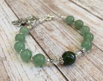 Aventurine and Moss Agate gemstone beads Rosary Bracelet, Christian Bracelet