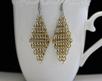 Chainmaille Earrings, Gold and Silver, Long Earrings, European Weave, Diamond Dangles, Medieval Jewelry