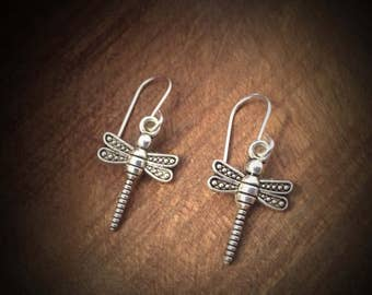 Dragonfly dangle / drop earrings