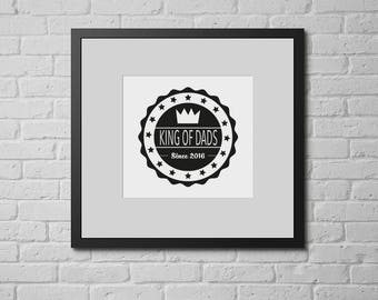 Personalised King of Dads Framed Badge Print, Crown Wall Art, Father's Day Print, Customised Father's Day Gift, Gift for Dad, Dad Print