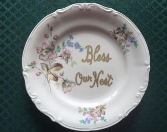 Bless our Nest decorative plate - display plate - wall decor - pretty  floral design - inspirational