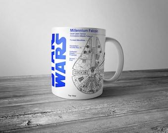 millennium falcon Blue print mug - Star Wars - FAST SHIPPING!!!
