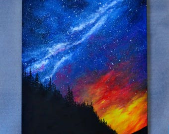 Original Oil Fantasy Space Landscape Painting Large Wall decor Office decor Milky Way Galaxy Starry Night *Galaxy Sky*