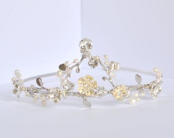 Bridal Floral Crown, Wedding Crystal Crown, Tiara, Bridal Hair Piece