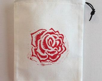 Hand block printed designer cotton drawstring bag