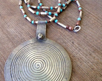 Antique Moroccan Berber Metal Pendant Necklace - Chinese, Ethiopian and Kenyan beads