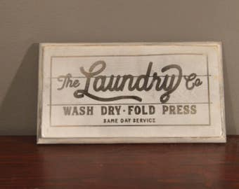 White Washed Hand Made Laundry Wooden Sign