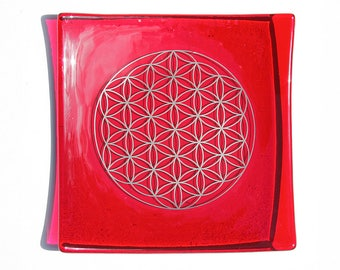 Red glass plate with platinum Flower of Life