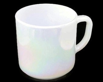 Federal Glass Iridescent White Mug D Handle Marked on Bottom F
