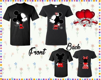 Mickey Minnie Kissing T Shirt Mickey Minnie Back Shirt Front Back Print T-shirts Couple Tshirts Couple Shirt Couple Tees Gift For Couple