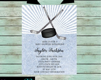Hockey invitation Etsy