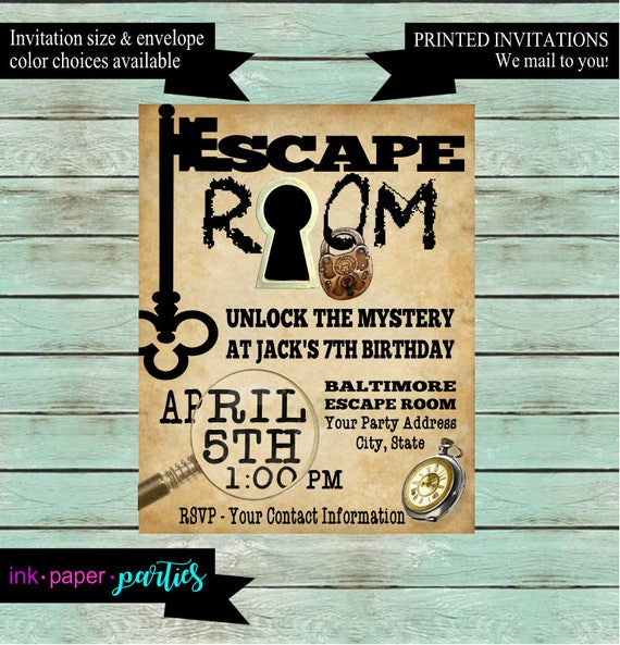 Escape room mystery puzzle birthday party invitations invites for Escape room party