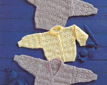 knitting pattern, pdf, children's, boys, girls, cardigan, sweater, ages 3 months to 6 years, double knitting, digital download