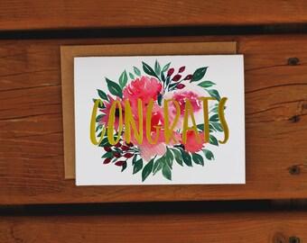 Watercolor Floral Bouquet Congrats Card | Handpainted | Floral Motif | Congratulations Greeting Card | Graduation Greeting Card