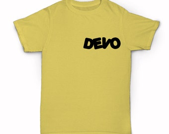 Devo logo T-shirt - 80's rock band group hats whip it I can't get no satisfaction fresh