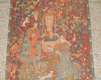 Vintage French Beautiful Medieval Style English Design Tapestry 0156