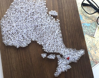 Ontario Map - Gift for Traveller - House Warming Gift - Gallery Wall - Office Decor - String Art Map - Map Art - Rustic Map - Canada Decor