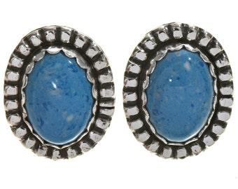 Denim Lapis Silver Earrings Southwest Post Studs Navajo Made