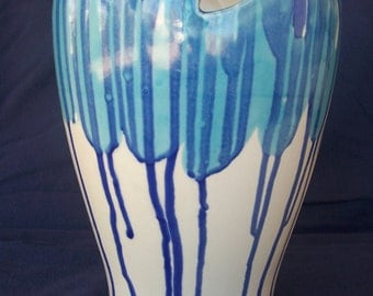 Large ceramic glaze dripped vase