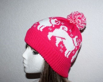 Cerise Pink with White Pug dogs with or without pompom beanie hat