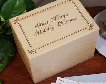 Personalized Holiday Recipe Box Custom Name Gift