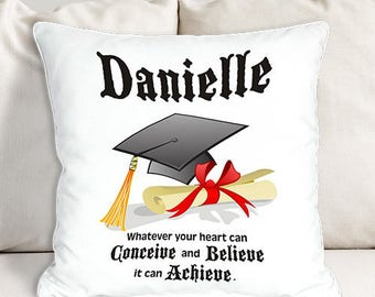 Personalized Graduation Throw Pillow Custom Name Gift