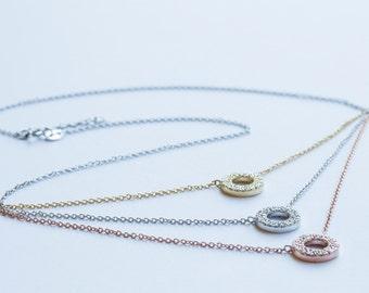 Pretty Multi-strand Layered Circle Necklace - Sterling Silver