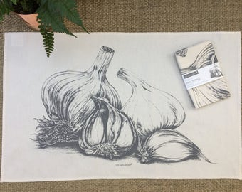 Garlic natural cotton tea towel from pencil drawing