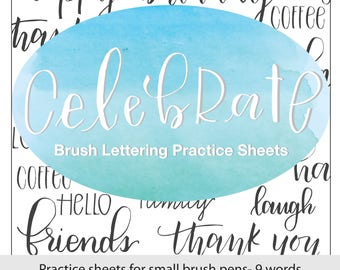 Celebrate: Practice Word Worksheets, Brush Lettering Practice Sheets, Modern Calligraphy, Hand Lettering