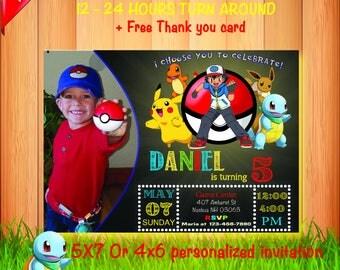Pokemon Invitation. Pokemon Birthday Invitation. Pokemon Birthday Card. Pokemon Party. Pokemon GO Invitation. Pikachu Invitation, Pokemon