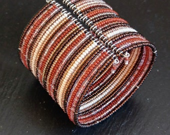 WARM RED ORANGE Beaded Cuff Bracelet - Handmade