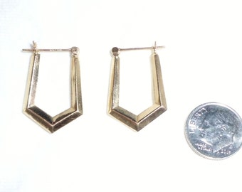 "Estate Vintage 14k Gold Puffy Hoop Earrings Pierced 1"" Long 14kt kt Marked 14 k Yellow Rectangle Hook Dimentional Trapezoid Pentagon"