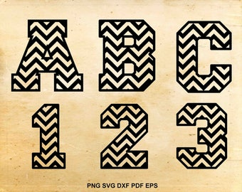 Chevron font svg, Chevron monogram, Chevron letters, Chevron numbers, Chevron alphabet svg, Files for Cricut, Cut files for Silhouette Cameo
