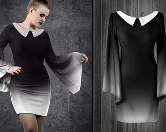 Morticia dress gothic black collar wide sleeves ash white ombre