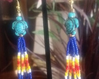 Native Style Loop Beaded Earring with Turquoise Turtle and Flame Effect Beads