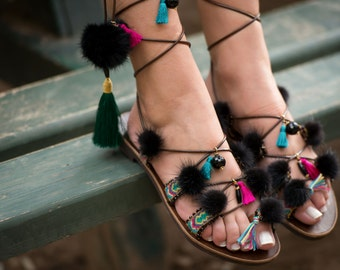 Luxe boho chic beach sandals, mink pom pom gladiator sandals, handmade Greek sandals, friendship sandals, boho chic, island girl, 'Mikaela'