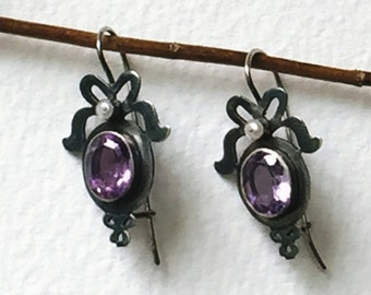 Amethyst and Pearl Victorian Style handmade Sterling Silver earrings Faceted Amethyst