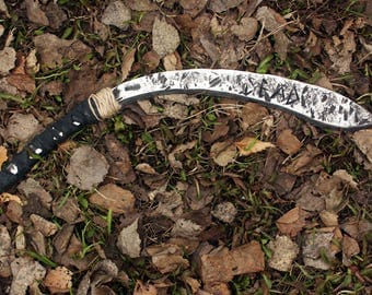 Hand forged apocalyptic Zombie knife kukri