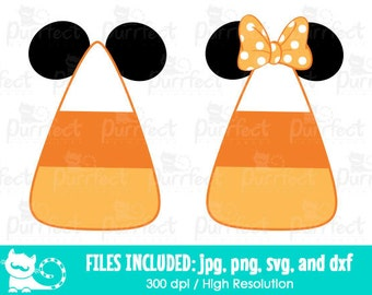 Mickey and Minnie Candy Corn SVG, Disney Candy Corn SVG, Disney Digital Cut Files in svg, dxf, png and jpg, Printable Clipart