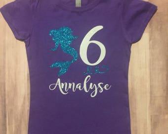Mermaid Birthday Shirt-Kids Mermaid Shirt- Birthday Shirt-Mermaid Theme Birthday Shirt-Girls Mermaid Birthday Shirt-Glitter Shirt
