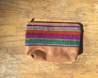 Camel colored striped pouch, bag, pouch, makeup bag, cosmetic bag, toiletry bag