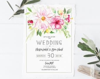 Tropical Wedding Invitation set , Destination Wedding , Beach Wedding , Tropical Flower Wedding , Colorful tropical Wedding Invites