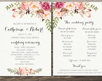 Wedding Programs, Wedding Program Printable, Bohemian Floral Wedding Program, Ceremony Program Printable, Boho Wedding Program Template
