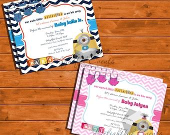 Baby Boy U0026 Baby Girl Minion Baby Shower Invitation Sets