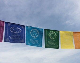 Seven Chakra Prayer Flags in one Thread with Chakra message in each flag