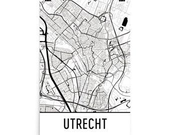 Utrecht Map, Utrecht Art, Utrecht Print, Utrecht Netherlands Poster, Utrecht Wall Art, Map of Utrecht, Utrecht Gift, Utrecht Decor, Map Art