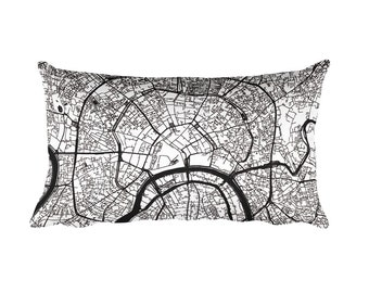 Moscow Pillow, Moscow Decor, Moscow Cushion, Moscow Throw Pillow, Moscow Gift, Moscow Throw, Moscow Russia Map, Moscow Art, Moscow Map Art