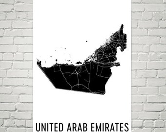 UAE Map, United Arab Emirates Art, Map of United Arab Emirates, UAE Decor, UAE Gift, Print, United Arab Emirates Poster, Wall Art
