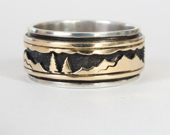 Alpine Panorama Ring MM Rogers 14k Gold Sterling Mountain Forest Scene